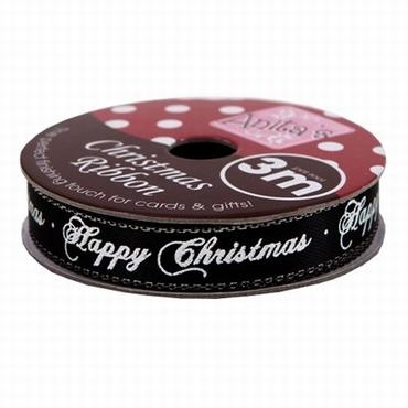 3 Meter HAPPY CHRISTMAS Lint Op Rol, Zwart Wit