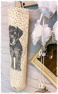 Langwerpige Zak Afb. Hond En Stipjes, Voor Plastic Zakjes