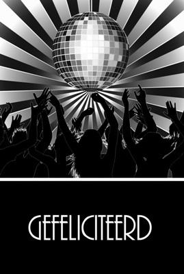 """Dubbele Kaart, Zwart Wit, Met Glitzsteentje Erop, Plus Enveloppe """"GEFELICITEERD"""" (dance)"""
