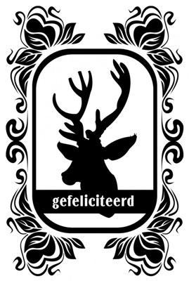 """Dubbele Kaart, Zwart Wit, Met Glitzsteentje Erop, Plus Enveloppe """"GEFELICITEERD"""" (hert)"""