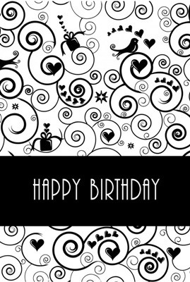 "Dubbele Kaart, Zwart Wit, Met Glitzsteentje Erop, Plus Enveloppe ""Happy Birthday"" (krullen)"