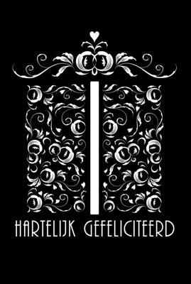 """Dubbele Kaart, Zwart Wit, Met Glitzsteentje Erop, Plus Enveloppe """"HARTELIJK GEFELICITEERD"""" (kado)"""