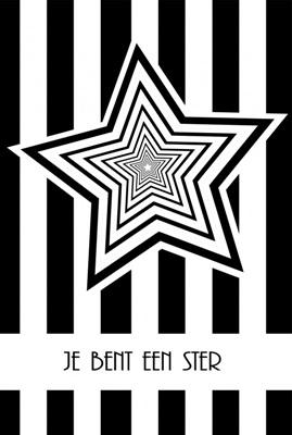 """Dubbele Kaart, Zwart Wit, Met Glitzsteentje Erop, Plus Enveloppe """"JE BENT EEN STER"""""""