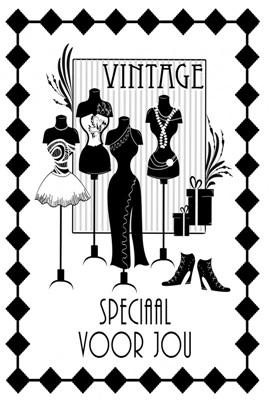 """Dubbele Kaart, Zwart Wit, Met Glitzsteentje Erop, Plus Enveloppe """"SPECIAAL VOOR JOU""""(vintage)"""