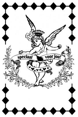 """Dubbele Kaart, Zwart Wit, Met Glitzsteentje Erop, Plus Enveloppe """"SPECIAAL VOOR JOU"""" (angel)"""