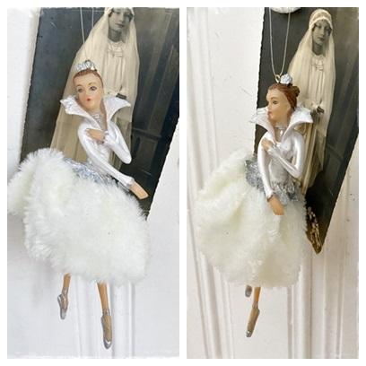 Ballerina In Mooie Kleur Wit Met Kroontje, 15 Cm.
