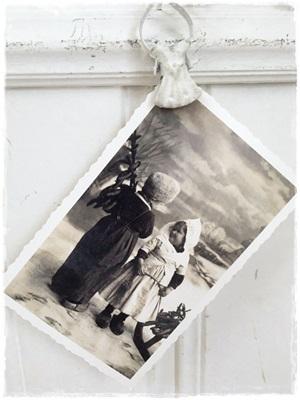 Postcard , Zwart Wit, Wil Je Met Mij Spelen? (antieke Kerstafbeelding)