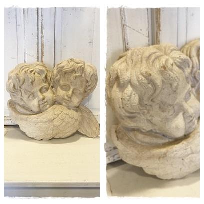 Brocant Muurbeeld Van 2 Engelen, 43 Cm. Br X 36 Cm. Hoog (zie Omschr.)