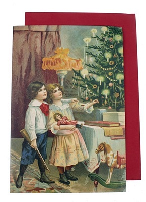 Kerstkaart Afm. 11,5 X 17 Cm. Afb. Brother And Sister Plus Enveloppe, Victoriaans