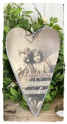 Hanger Hart 15 X 8 Cm.  Aan Ijzerdraad Met Nostalgische Afb. Christmas Angels 15 X 8 Cm.
