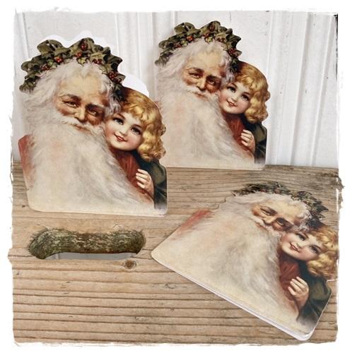 Victoriaans Dubbel Kaartje Met Enveloppe , Father Christmas With Jane, 11,5 X 9 Cm.