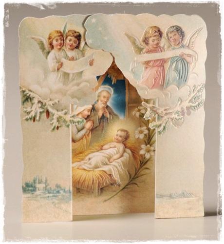 Victoriaanse Gestanste Kerstkaart Reliëf, Kerststal, Sneeuw En Engelen.