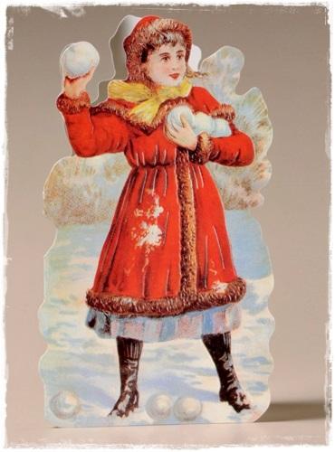 Prachtige Victoriaanse Kerstkaart (blijft Staan) Meisje In De Sneeuw  18,5 X 13,6 Cm.