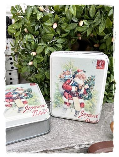 Kerstblikje Met Victoriaanse Afbeelding Father Christmas